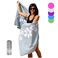 Tuvizo Microfibre Towel Quick Dry Beach Towels for Swimming & Travel Original Cruise Accessories or Travel Gifts for Women XL with Convenient Storage Bag (Gray)