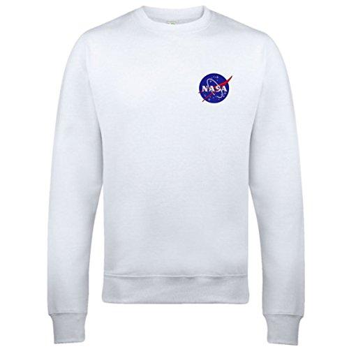 Pullover mit Rundhalsausschnitt, Unisex, mit aufgesticktem NASA-Logo Weiß