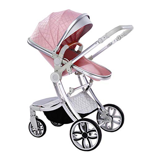 Kinderwagen Zwei-Wege-Mode-Kinderwagen 2 in 1 Baby Kinderwagen Neugeborene Kinderwagen Kleinkinder Stubenwagen Falten liegend (Farbe : Green1)