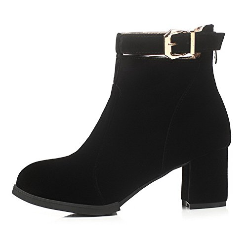 VogueZone009 Damen Rein Blockabsatz Reißverschluss Stiefel mit Metall Schnalle, Rot, 43