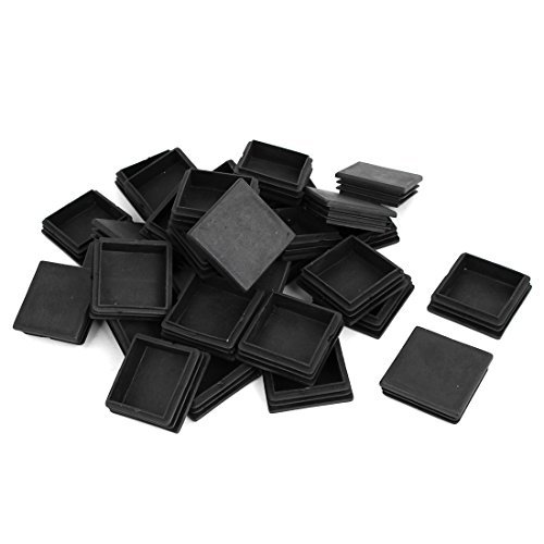 DealMux Plastic Home Square Furniture Table End Cap Tube Insert 50mm x 50mm 30 Pcs Black