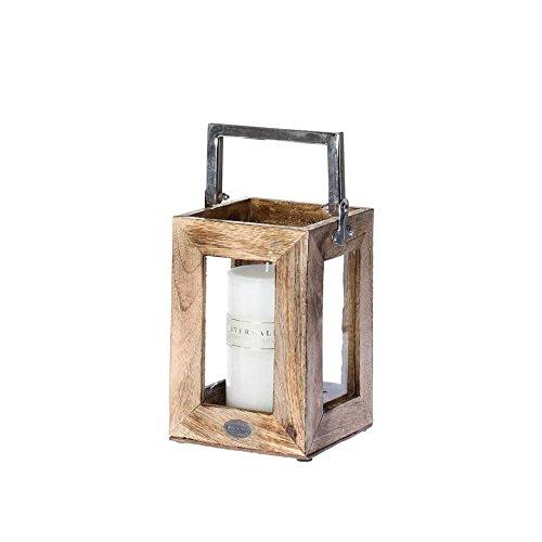 Riverdale Rowan Windlicht/Laterne aus Holz und Glas braun mit Metallgriff 22 cm - Holzlaterne - Gartenlaterne - Gartendeko - Lichtstück - Dekoidee - Weihnachtsdekor - Sommerfest - Gartenparty