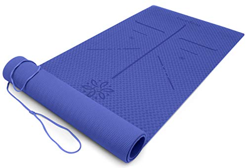 Ewedoos Tappetino Yoga Eco Friendly con Linee di allineamento, Tappetino Antiscivolo in TPE Yoga...