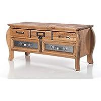 Preisvergleich für DESIGN DELIGHTS Vintage Holz KOMMODE ALTERNA | 5 Schubladen, 43,5 cm, Tannenholz | Schubladenschrank
