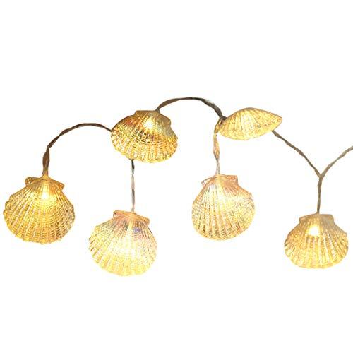 CUEYU 1,5 mt 10 Lampe Seepferdchen Shell Marine Batterie String Lampe Dekoration Lampe,Hippocampus Shell Marine Batterie Lichterketten Dekoration Lampe (A)