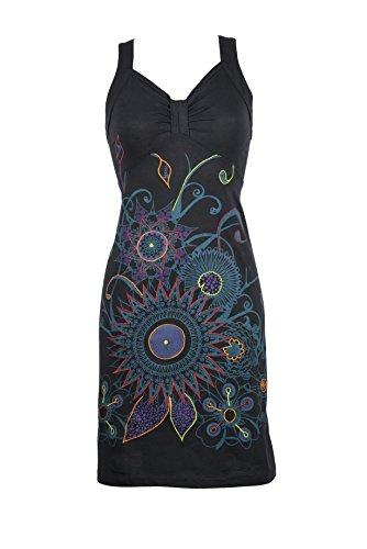 Wunderschönes Ethno Kleid mit abstracten Floral Print und bunten Stickereien – Hippie Chic – 100% Baumwolle - OONA (S/M) (Flip Flop Kleid)