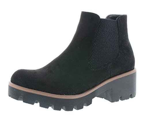 Rieker Damen Chelsea Boots 99284,Frauen Stiefel,Halbstiefel,Stiefelette,Bootie,Schlupfstiefel,hoch,Blockabsatz 5.2cm,Black / 00, EU 41