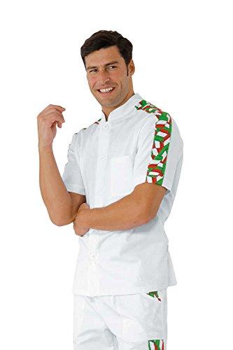Isacco - Tunique de travail Homme manche courte Blanc Italie Blanc pizza