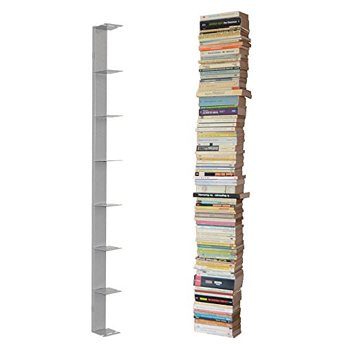 Single Bücherregal (booksbaum single wand gross silber, 2tlg. best. aus: Halterung + Einlegeböden)