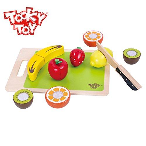 Holzfrüchte zum Schneiden für Kinder - 14 Teilig - Holzspielzeug Lebensmittel Spielküche Cutting Fruits Schneidbrett
