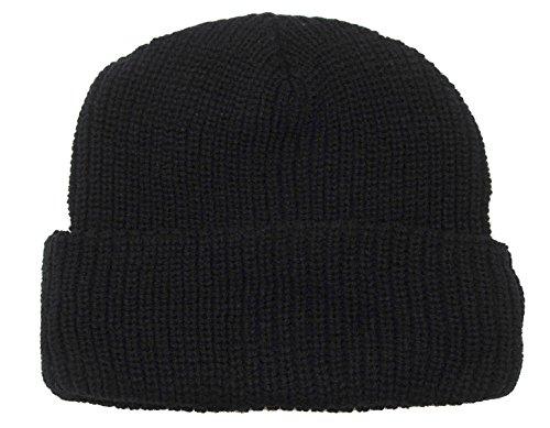 Super Warme Rollstrickmütze Watch-Cap Rollmütze Wintermütze in verschienen Farben (Schwarz)