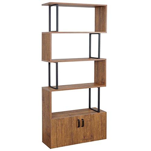 Mendler Bücherregal HWC-A27, Regal Standregal Raumteiler Wohnregal, Staufach mit Tür 183x80cm 3D-Struktur Wildeiche-Optik -