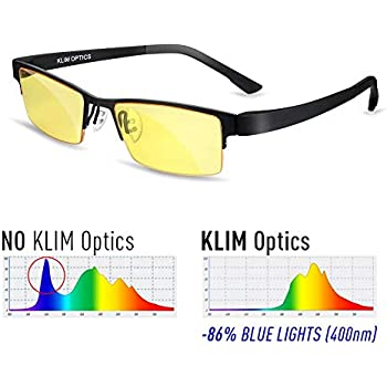 KLIM Optics Lunette Anti Lumiere Bleue - Protège vos Yeux de la Lumière  Bleue - Haute Protection pour Écrans - Lunettes Gaming PC Mobile TV -  Filtre Anti ... 583da6de2b90