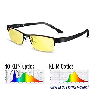 KLIM Brillen mit Blaulichtfilter Hoher Schutz – Gaming Brillen für PC, Handy und Fernseher – Anti-Müdigkeit, Anti-Blaulicht, UV-Schutz