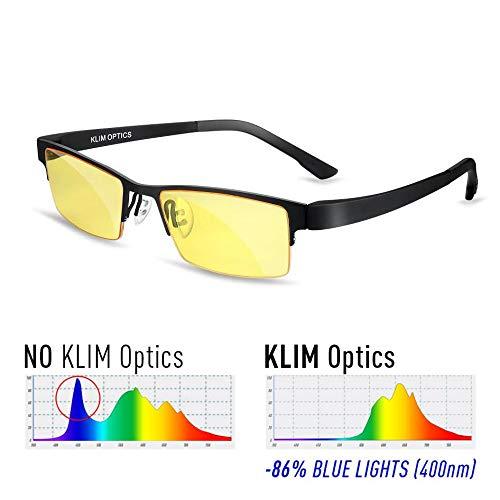 ⭐️KLIM Optics Brillen mit Blaulichtfilter – Hoher Schutz - Gaming Brillen für PC, Handy und Fernseher – Anti-Müdigkeit, Anti-Blaulicht, UV-Schutz [ Neue 2019 Version ]
