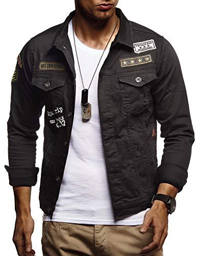 LEIF NELSON Herren Jeansjacke mit Knopf | Freizeitjacke Slim Fit | Das Beste in Kleidung Männer LN9565; L, Schwarz (Kleidung Für Männer Jeans)