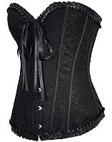BSLINGERIE® Womens Boned Corset With Black Brocade & Matching Thong