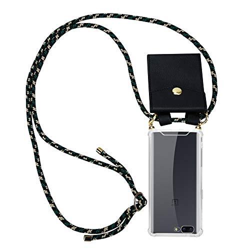 Cadorabo Handy Kette für OnePlus 5 in Camouflage - Silikon Necklace Umhänge Hülle mit Gold Ringen, Kordel Band Schnur & abnehmbarem Etui - Schutzhülle