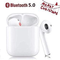 Écouteurs Bluetooth V5.0, Casque sans Fil Touch réduction de Bruit stéréo 3D HD Oreillette Microphone intégré et étui de Chargement Écouteurs pour Apple Airpods/Android/iPhone