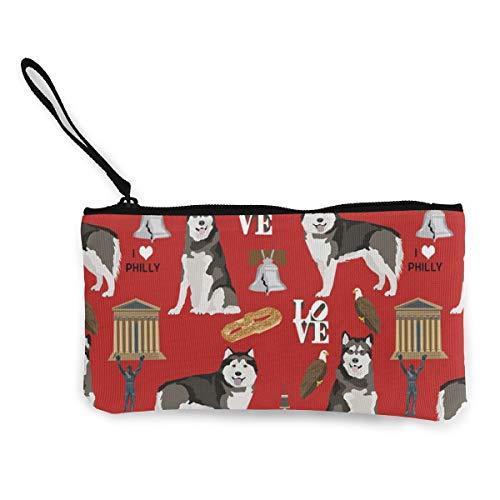 Alaskan Malamute Philly City Multifunktionale tragbare Leinwand Geldbörse Handytasche Kosmetiktasche, Reißverschluss-Wristlets-Tasche