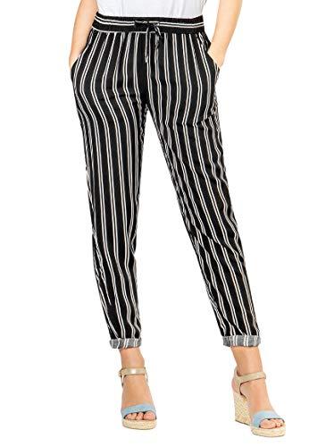 Sublevel leichte Damen Stoff-Hose mit Gummibund & Muster Black XL -