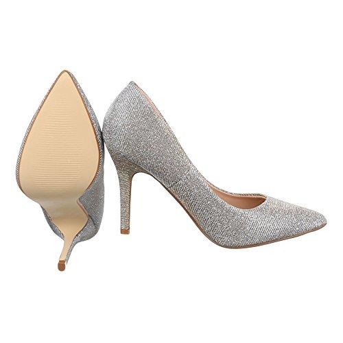 Damen Schuhe High Heels Plateau High Heel Pumps Pfennig-/Stilettoabsatz Gold 9968-8