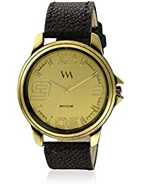 Watch Me Gold Color Black Leather Strap Watch For Boys WMAL-268