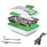 JINRU Lunch Box Tragbare Elektrische Heizung Lunch Warmer Box Mit Herausnehmbarem Edelstahlbehälter Und Einem Autoladegerät,Grün