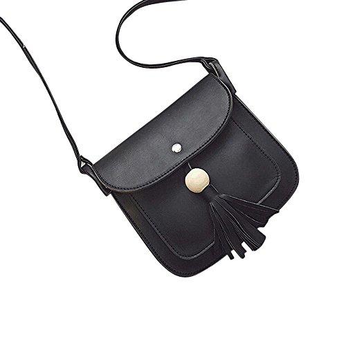 Longra Pelle modo delle donne nappe borsa a tracolla a spalla (Nero)