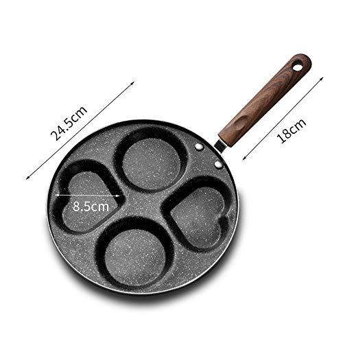 WEAO 24,5 cm Kaliber Omelette Egg Pan Upgrade Verdickung Vier-Loch-Ei-Knödel-Topf In Herzform Mit Antihaftbeschichtung Spülmaschinen- Und Ofenfest