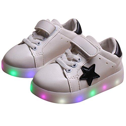 Highdas Jungen Mädchen Prewalker Blitz-Beleuchtung Schuhe Weiß