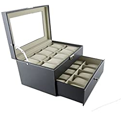 Feibrand Double Layers PU Watch Box 20 Slots
