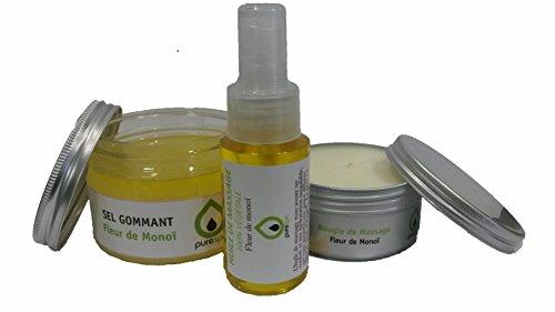 Kit coffret cadeau massage sensuel bien être avec 1 Bougie de massage Fleur de Monoï, 1 huile de massage monoï en spray,1 Beurre de Karité monoï, 1 trousse