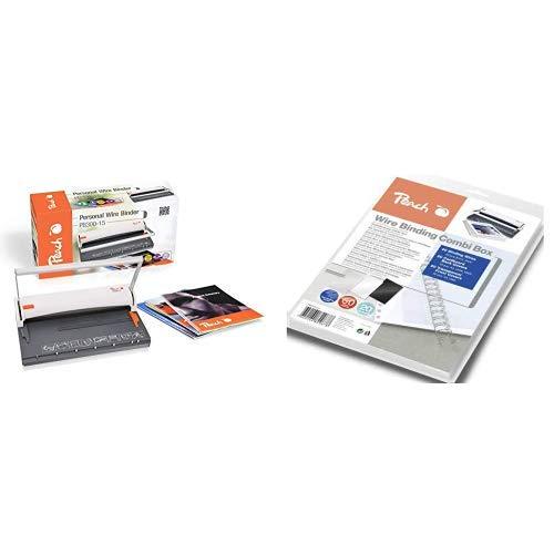 Peach PB300-15 Draht Bindemaschine | Personal Wire Binder Closer DIN-A4 | Testsieger* | bindet 60 Seiten | 8 mm Binderücken | 6 Blatt Stanzkapazität & PW079-07 Drahtbindeset