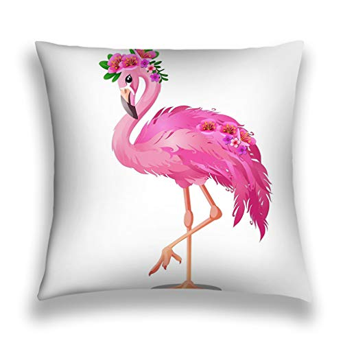shi Kissenbezüge Throw Pillow Cover Pillowcase Beautiful Bird pink Flamingo Flowers Isolated White Background Cartoon Close up Fervent Sofa Home Decorative Cushion Case 18