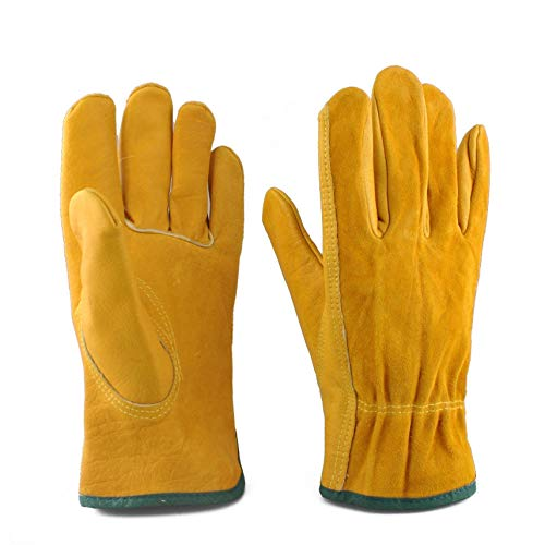 EINSKEY Gardening Gloves for Men Women, 2 Pairs Thorn Proof Leather Work Gloves, Heavy Duty Rigger Gloves for Gardening, Fishing, Construction and Restoration Work & More (Medium (2 Pairs))