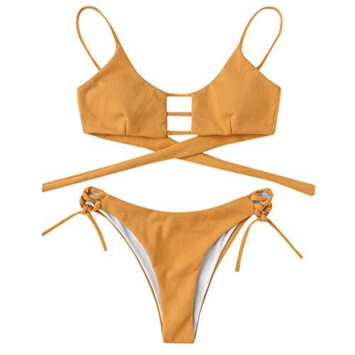 Leichte Badeshorts Quick Dry S-XXL Frauen Push-up-Bikini-Badebekleidung Sexy Bikini-Badebekleidung Geteilt-Block-Druck Shorts Badeshorts Kreuz vorne Verband-Frauen-Bikini Swimsuit swimanzug Swimwear
