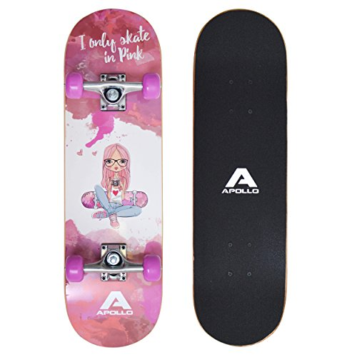 Apollo Kinderskateboard Skaterprincess, kleines Skateboard für Kinder, 71 cm lang