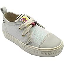 Dolfie Devon - Zapatilla deportiva glitter para niña, color blanco.
