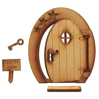 North Pole Öffnung Fairy Tür. Festive dreidimensionale Fairy Tür KIT Selbstmontage Craft Holz mit Fußmatte, Schild & Schlüssel