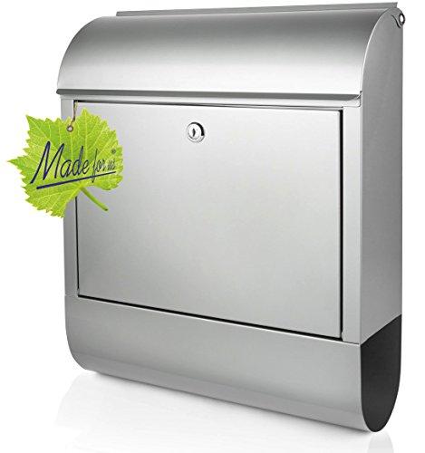 Edelstahl Briefkasten mit Zeitungsrolle, Maße 39,5x14x46cm, Original Made for us®