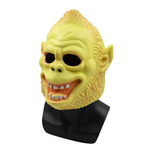 Kostüm Mädchen Böse Maus - YusellYu_Mädchen Strampler Jumpsuit Yusell Scary Animal Orang-Utan Latex Maske mit Haaren Cosplay Helm Halloween Kostüm