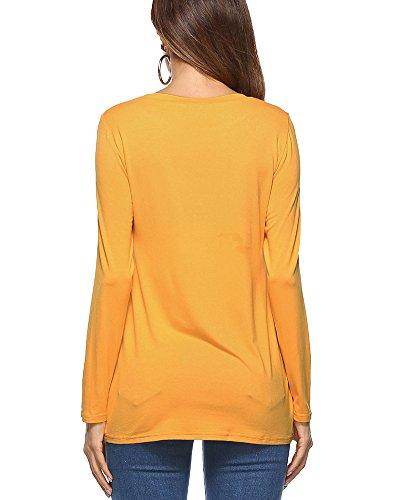 ShiFan Donna T-Shirt Manica Lunga Blusa Loose Rotondo Collo Pullover Tops Casual Camicetta Giallo
