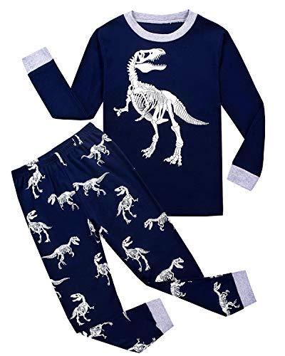 Tkiames Jungen Pyjama für Jungen, LKW, Dinosaurier, Kinder-Pjs mit Langen Ärmeln Gr. 5-6 Jahre, Dragon2