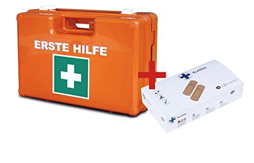 Erste-Hilfe-Koffer für Betriebe DIN 13157 PREMIUM LÜLLMANN Verbandkasten + Wandhalter + 100 Premium Wundpflaster orange 620139D