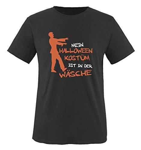 Comedy Shirts - MEIN HALLOWEEN KOSTÜM IST IN DER WÄSCHE ZOMBIE - Herren T-Shirt Schwarz / Weiss-Orange Gr. (Besitzer Hunde Kostüme Und Halloween Für)
