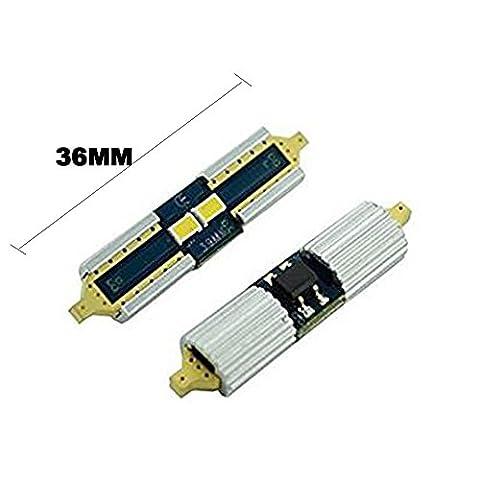 2pcs Blanc 31mm (3,2cm) 36mm (3,6cm) 39mm (3,9cm) 36232-smd 80lm 12V Festoon Lumière dôme ampoules LED
