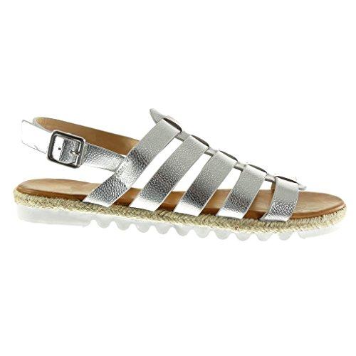 Angkorly - Scarpe Moda sandali Espadrillas gladiatore suola di sneaker donna pelle di serpente tanga corda Tacco tacco piatto 2.5 CM Argento