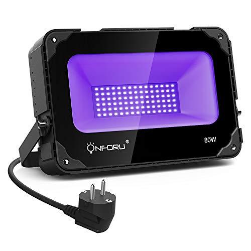 Onforu 80W UV LED Schwarzlicht mit Lüfter | UV LED Flutlicht Strahler Lichteffekt Partylicht Bühnenbeleuchtung mit EU Stecker | Geeignet für Club Party Karneval Disco Bar Ballsaal