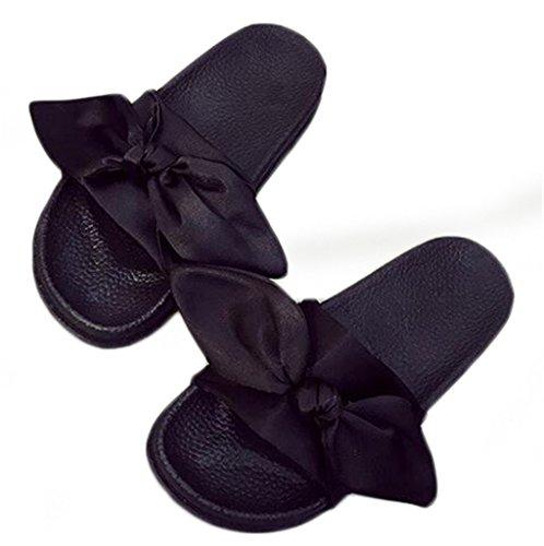 NEWZCERS Sandali di prua femminili, pantofole morbide e morbide e sottili Nero